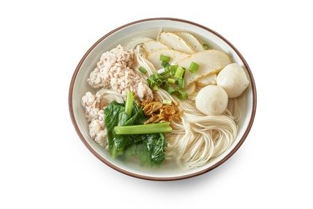 Asian Noodle Soup with Cooked Ingredients Reklamní fotografie