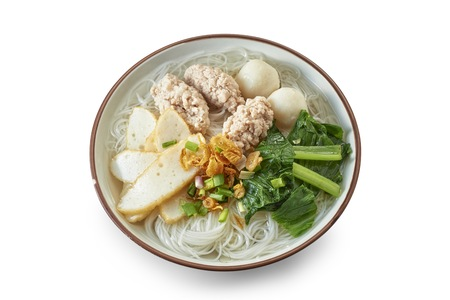 White Noodle Soup with Cooked Ingredients