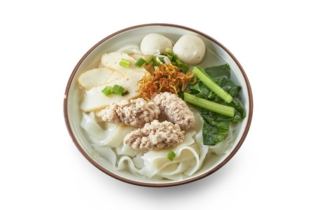 Flat White Noodle Soup with Cooked Ingredients