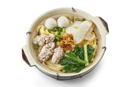 Clay Pot Flat Noodle Soup with Cooked Ingredients