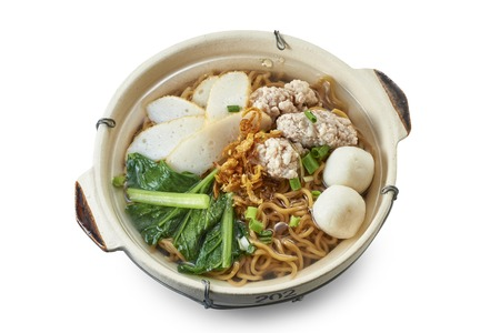 Clay Pot Yee Mee Noodle Soup with Cooked Ingredients