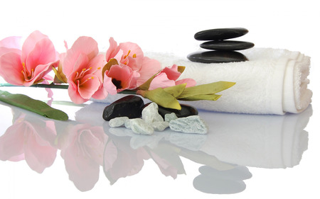 natural stone: Spa setup with zen basalt stone, orchid and tower