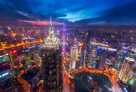 bird s eye: Bird s eye view of Shanghai at night
