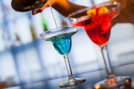 champaigne: Colorful cocktail in a bar, selective focus Stock Photo