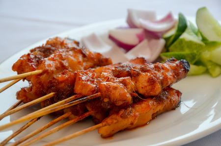 chicken satay: Delicious Asian Cuisine Chicken Satay Stock Photo