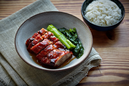 duck egg: Chinese Barbecue Pork with rice HongKong food Stock Photo