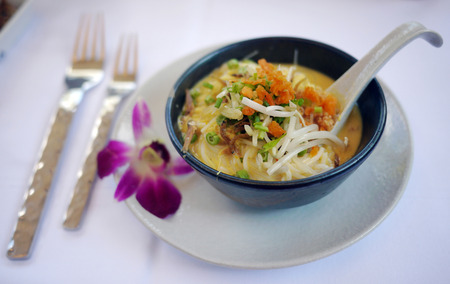 The Best Thai Dishes, Rice Noodles in traditional Tom Yum soup