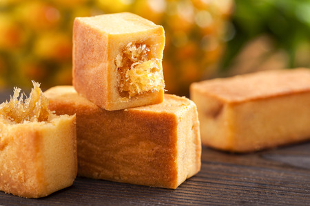 Taiwan famous dessert - pineapple pastry cake Stock Photo