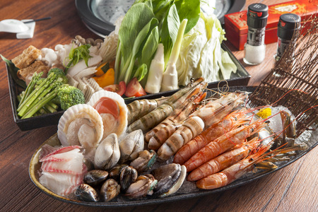 The whole seafood set for hot pot
