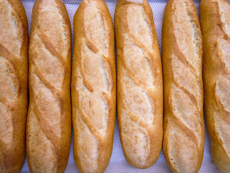 baguet: Fresh baguettes, tradiotional French bread Stock Photo