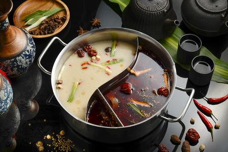 double flavor hot pot Archivio Fotografico