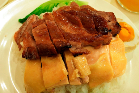 Barbecue pork and Steam chicken with rice, Hong Kong Food