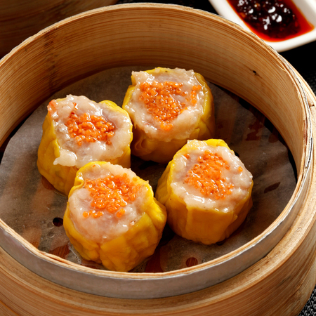 Shrimp siu mai n bamboo steamer, a favorite Chinese snack