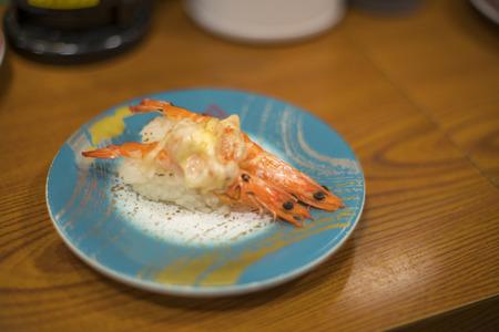 speciality: Shrimp Sushi, Nigifi Sushi in a sushi bar