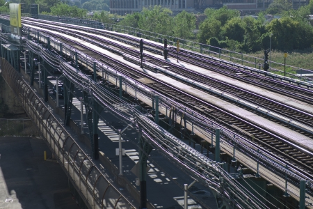 flushing: Subway Train Track in Flushing Queens Stock Photo