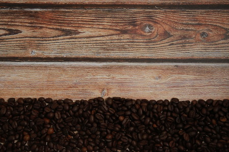 The smell of coffee beans on the table. Stock Photo