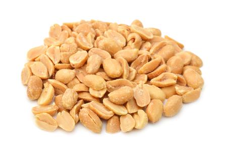 Peeled salted peanuts isolated on white background Stock Photo