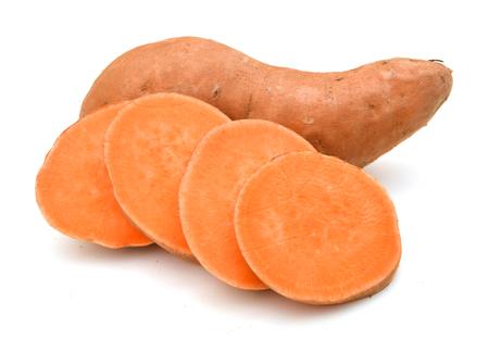 Sweet potatoes on white 写真素材 - 96870618