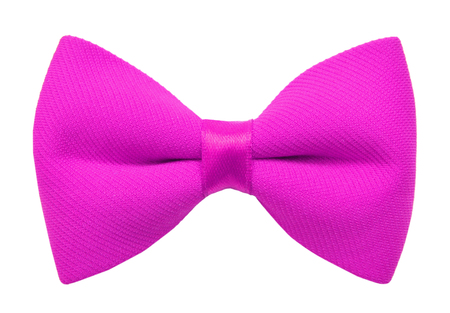 Pink bow tie isolated on white Stockfoto
