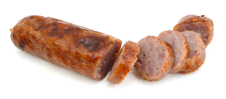 smoked wurst on a white background