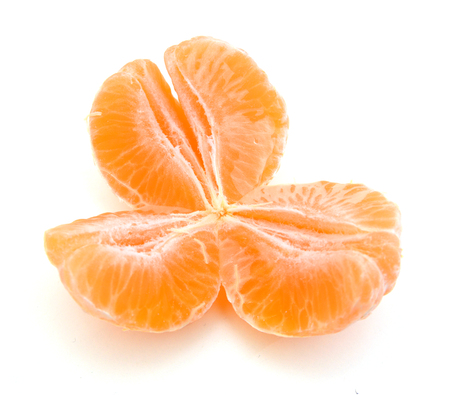 Orange mandarin or tangerine fruit isolated on white background Standard-Bild