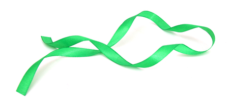 Green ribbon over white background, design element Banque d'images - 98381089