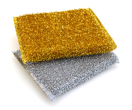 two yellow and white checkered abrasive pads on a white background
