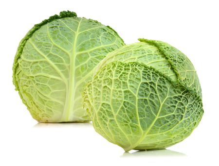 whole green cabbage isolated on white
