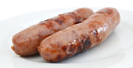 Bratwurst grillé isolé sur blanc Banque d'images - 98463308