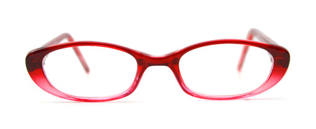 red glasses on a white background