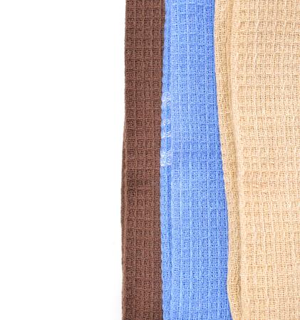 Colorful serviette de coton de coton ou nappe isolé sur blanc / couvercle / nappe Banque d'images - 98463342
