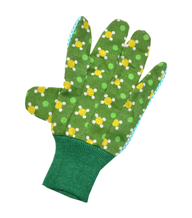 pair of new green garden gloves isolated on white background Stockfoto