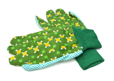 Green gardening work gloves isolated on white background. Stockfoto