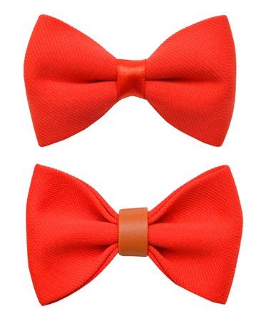 Noeud papillon rouge isolé sur le blanc Banque d'images - 98463379