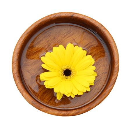 Fleurs de marguerite dans un bol sur fond blanc Banque d'images - 98463386