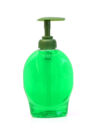 A Bottle of green Dish Washing Liquid, isolated on white background Banque d'images - 98463420