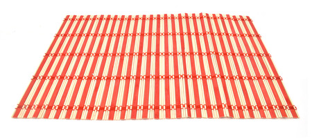 Red and white bamboo on white background