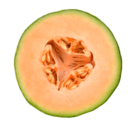 Half melon isolated on white background