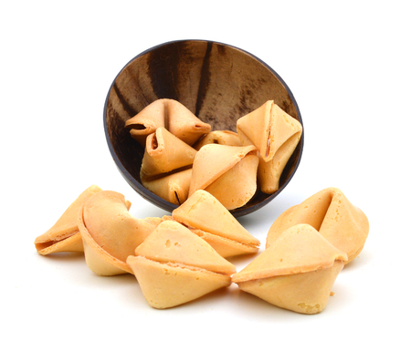 wood bowl of Fortune Cookies Isolated on White with a Clipping Path