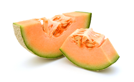 Slice of ripe cantaloupe melon