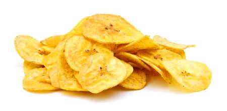 Banana chips on white background Foto de archivo