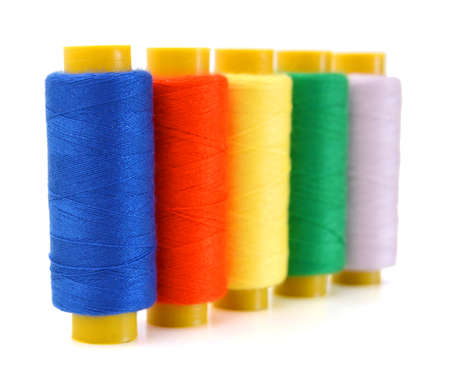 Spools of threads isolated on a white background