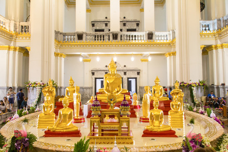 awakened: The Buddha at main altar in temple, Thailand Editorial