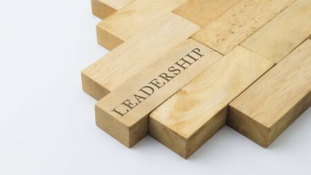 Leadership graphic on leading wooden block, business concept