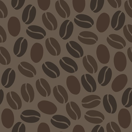 pink brown: Seamless pattern with black coffee beans on a dark brown background