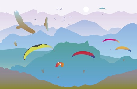near:  illustration with paragliders and birds on the background of a mountain landscape