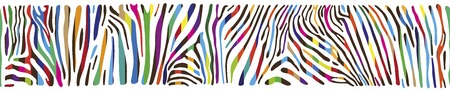 Great horisontally seamless vector background with multicolored Zebra skin