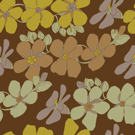 buff: Seamless vector vintage pattern with floral texture on a brown background