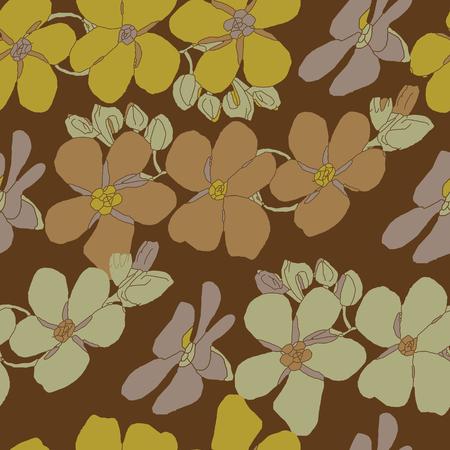 discreto: Vector patrón de la vendimia inconsútil con textura floral en un fondo marrón Vectores
