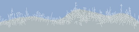 bush mesh: Great horisontally seamless vector background with winter grass or herb in linear drawing style